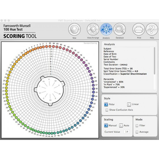 Farnsworth-Munsell 100 Hue Test  Scoring Software M80013 (Latest Ed.)